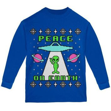 PEAPGQ9 Alien Peace on Earth Ugly Christmas Sweater Youth Long Sleeve T Shirt
