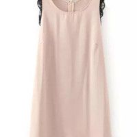 Pink Lace Chiffon Sleeveless Dress