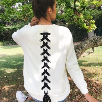 Round Neck Pullover with Lace Up Details