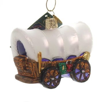 Old World Christmas COVERED WAGON Glass Pioneers 46012