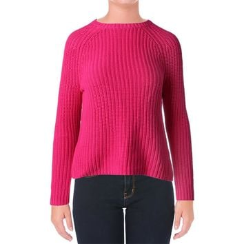 Ralph Lauren Womens Cotton Ribbed Knit Crewneck Sweater