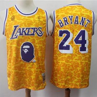 Bape x NBA Los Angeles Lakers 24 Kobe Bryant Mitchell & Ness Gold Hardwood Classics Jerseys - Best Deal Online