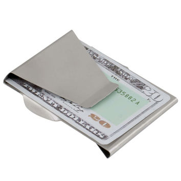 1Pcs Double Sided Cash Slim Money Clip Credit Wallet Stainless Steel clip cash card Hot Selling