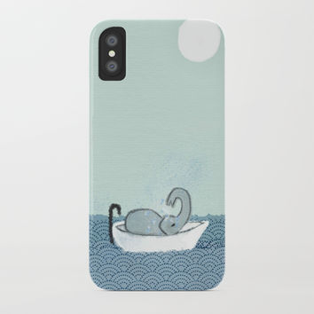 Elephant Takes A Bath iPhone Case by jamespeartillustrations