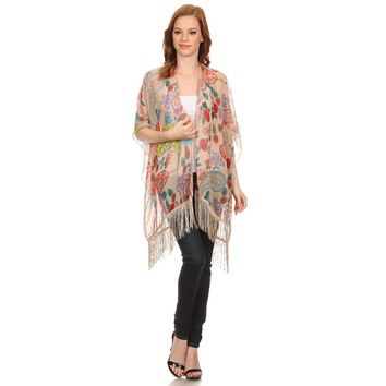 Womens Multi Colored Floral Lightweight Poncho