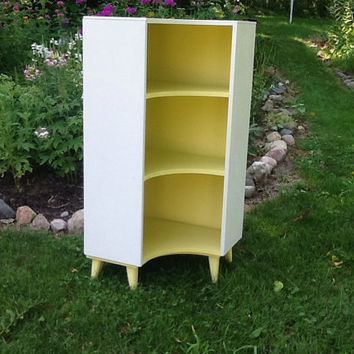 50's Retro Corner Cabinet / Painted Bookcase / Nursery Furniture