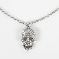 Women's Skull Necklace in Silver by Daytrip.