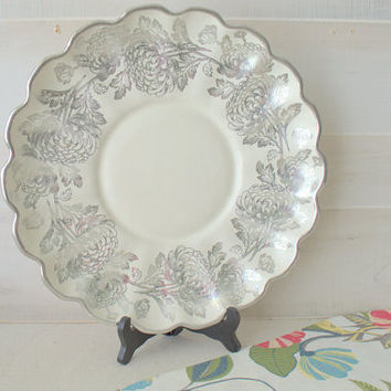 Catalina Rancho Pottery Scalloped Serving Dish, Silver Ceramic Vanity Tray, Antique Silver Embossed Platter, Franciscan China Plate