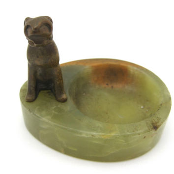Vintage Marble Ashtray - Brass Dog - Art Deco