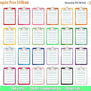 50% OFF SALE Clipboard Clipart, List Clip art, Check List, Planners, To-Do List, To Do, Office Supplies, Digital School, PNG, Commercial-Use