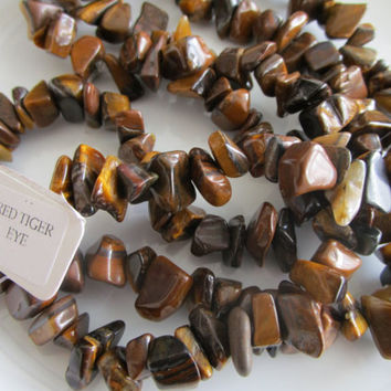 32 inch strand chip red tiger eye gemstone bead, red tiger eye chip bead - 0.25-0.5 inches - jewelry bead supplies - chip bead supplies