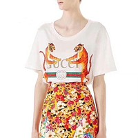 DCCKN7K Gucci' The tiger Hot letters print T-shirt top