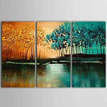 "36"" x 24"" Tree wall art, Textured painting, 3 piece canvas art, Large wall art, painting, triptych trees art"