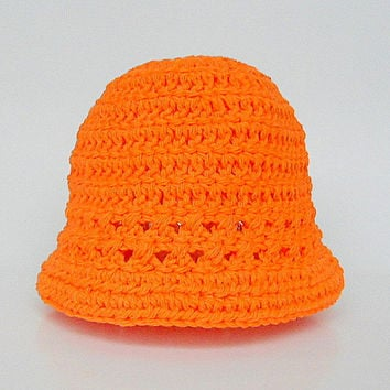 Orange Baby Hat  Boy  Spring Cotton  Cap 6 To 12 Months Infant Girl  Summer   Beanie Tangerine Halloween Accessory