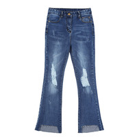 Distressed Ankle Flare Jeans