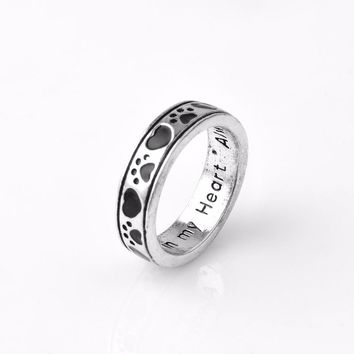"Personalised Engraved New Dog Paw Printed Love ""Always By My Side, Forever iIn My Heart"" Pet Pet Memorial Ring"