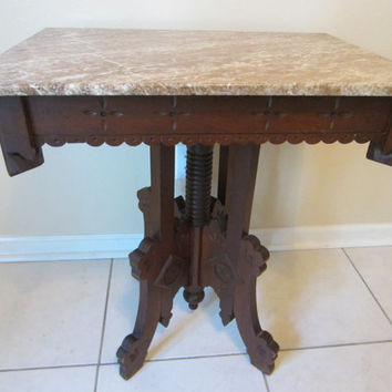 Eastlake Parlor Marble Top Walnut Table Antique Original American Designer