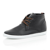 River Island MensBlack lace up mid top boots