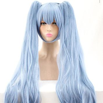 LIVA GIRL Snow Miku Cosplay Wig VOCALOID Costume Play Wigs Halloween Costumes Hair free shipping NEW High quality