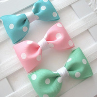 Baby Girl Pastel Bow Set, Baby Bow Headbands, Baby Bows, Baby Headbands, Pink, Aqua, Mint Bowtie Style Accessories, Easter, New Baby Gift