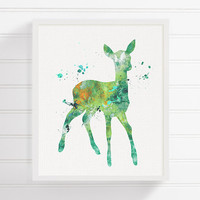 Fawn Print, Fawn Nursery, Woodland Animals, Woodland Nursery Decor, Forest Animals, Baby Deer, Kids Room Decor, Fawn Painting, Watercolor