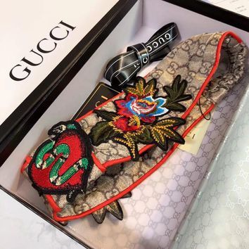 GUCCI Flower Embroidered Silk Headband