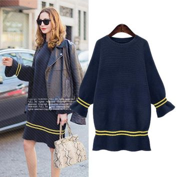 Women Sweater Dress  Autumn Winter Fashion Flare Sleeve Oversized Knitted Pullover  Sweaters Deep Blue