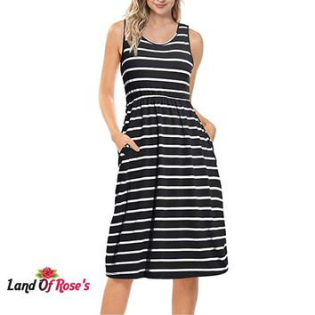 Plus-Size Striped Dress Women's O-Neck Sleeveless Loose Dresses With Pockets