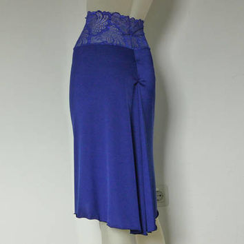 Royal blue Argentine Tango Skirt rushed back with Slit Size 0 to 10 with high Waist stretchy Lace  Dancewear Tango Jupe