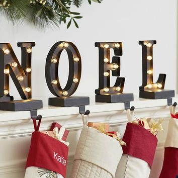 Lit Bronze Word Stocking Holder - Noel