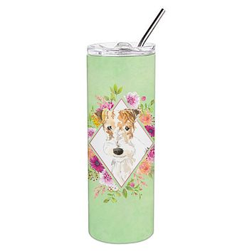 Fox Terrier Green Flowers Double Walled Stainless Steel 20 oz Skinny Tumbler CK4359TBL20