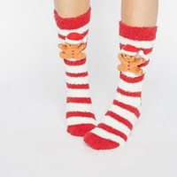 ASOS Holidays Gingerbread Man Cozy Sock Gift Box at asos.com