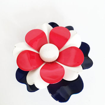 Red White Blue Enamel Flower Pin Vintage 1960s 1970s Flower Power Brooch Patriotic Independence Day Mod Floral Jewelry Retro