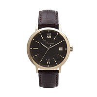 Marc Anthony Gold Tone Stainless Steel Leather Watch - Men (Brown)