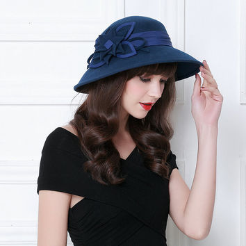 Winter Woolen Big Flower Bucket Hats Millinery Chapeau Felt Fedoras Female Free Shipping WMDW-024