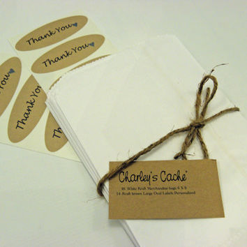 48 White Kraft Merchandise Bags 6 X 9 Party and Wedding Favor bags Plus 14 Large oval Kraft Oval Labels Personalized