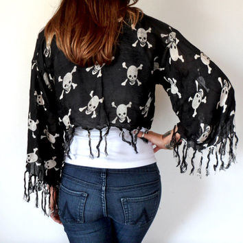 Black & White Skull and Bones Fringe Cropped Kimono Jacket Reconstructed