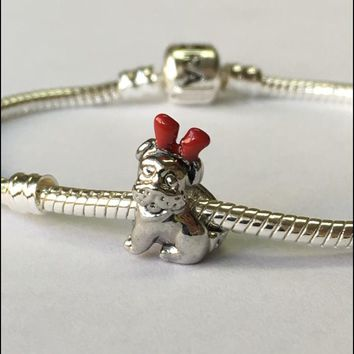 Dog with Red Reindeer Ears Charm on a Silver Snake Bracelet