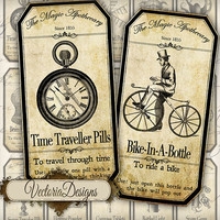 INSTANT DOWNLOAD Steampunk Apothecary Bottle Labels Jar Labels Tags Halloween instant download printable  images digital collage sheet 151