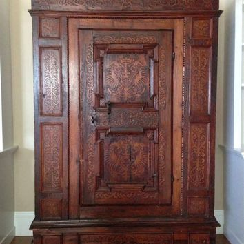 19th Century Italian Renaissance Style Ornate Carved Walnut Single Door Cabinet