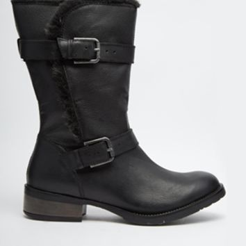 Carvela Thrash Leather Boots with Faux Shearling Trim - Black