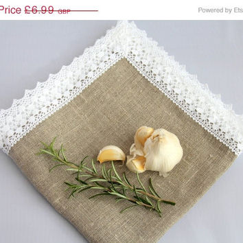 Christmas Sale Luxury Natural Grey stone washed Linen Napkin Serviette Placemat Centrepiece Table topper with White Linen Lace French Countr