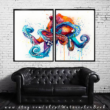 Octopus watercolor painting print, Octopus  art, animal watercolor, animal illustration, Sea art, Octopus  print, animal  art