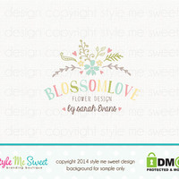 Custom Premade Logo Design - Florist Flower Logo Photography Photographer Logo Small Business Logo Hand Drawn Logo