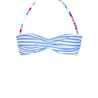 Delia's Pretty Floral Stripe Dot Twist Bandeau Bikini Top