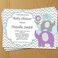 Baby Shower Invitation Elephant Baby Shower Invitation Baby Shower Invitations Invites Neutral (11) -Free Thank You Card - Instant Download