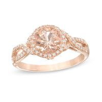 Precious Bride 7.0mm Morganite and 1/6 CT. T.W. Diamond Frame Twist Engagement Ring in 10K Rose Gold