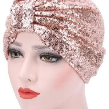 Vintage Style Sequin Turban - 6 Colors