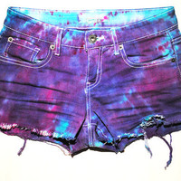 Purple Tie Dye Destroyed Indie XS Shorts