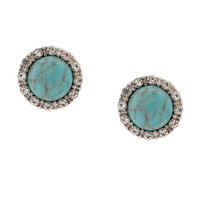 Crystal Framed Turquoise Button Stud Earrings
